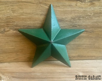 """HUNTER GREEN Handpainted Cast Iron Texas Star Wall Hanging - 7.5"""" Metal Star Wall Decor - Patriotic Nautical Rustic Country Home Decor"""