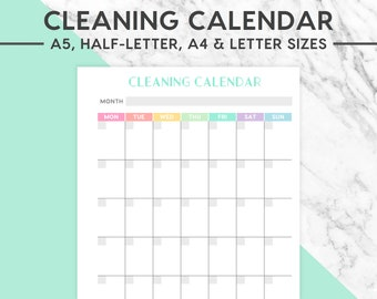 NEW! CLEANING CALENDAR Printable   Pastel, A5 size, A4 size, Half-Letter size, Letter size,