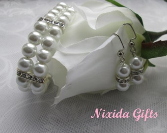 Pure White Glass Pearl Rhinestone Bracelet and Earring Set
