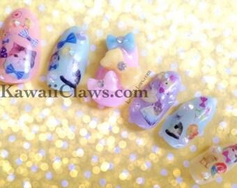 Pastel Rainbow Kitty Cat & Kawaii Animals Gel Nail Art Pastel Glitter Press on false fake nails