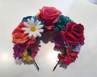 Flower Crown- Festival Floral Headband- Day of the Dead Headband- Burner- Festival wear- Fall Solstice- Wedding- Dia de los Muerto