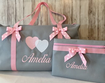 Girls Duffle Bag/ Personalized embroidered Gray duffle bag-pink straps and bows/Three sizes/ bag for camp/ballet/travel/ Valentine Gift
