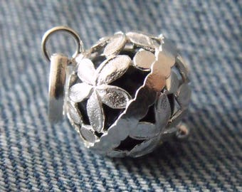 Flower chiming Pendant 925 Sterling Silver Harmony Chime Ball Angel Caller Mexican Bola Black Ball