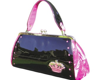 Couture Vintage High Roller inspired Handbag. Handmade in the USA- Royal Pink