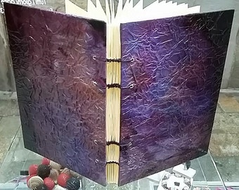coptic journal,handbound journal,coptic binding,coptic stitch journal, blank journal, purple journal,gifts for writers,  made in venice