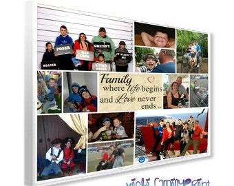 """20""""X24"""" Collage canvas personalised photo family gift with any quote"""
