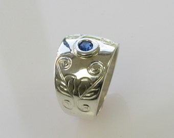 Hand Engraved  Vine and Leaf Sterling Silver with Blue Sapphire 12mm wide Ring