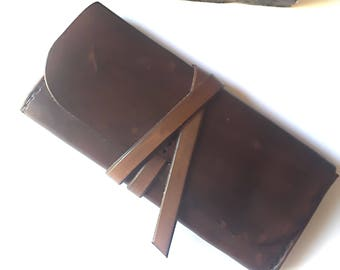 Leather Cigar Pouches - Leather Tobacco Pouch - Boho Leather Clutch - Unisex Tobacco Pouch