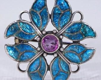 Arts & Crafts Enamel Amethyst Brooch Pin Jessie M. King