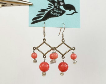 Coral and labradorite chandelier earrings