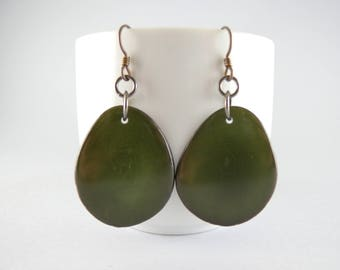 Olive Green Tagua Nut Eco Friendly Yoga Accessories Earrings with Free USA Shipping #taguanut #ecofriendlyjewelry