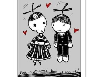 Love is Strange - GingerDead Goth /Alt Greeting Cards - Valentine / Love / Friendship - Single Card w/ Envelope