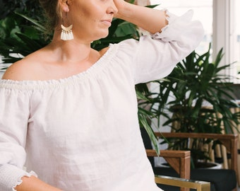 Linen top - off the shoulder Jodi top - white linen with beads