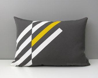 Yellow & Grey Outdoor Pillow Cover, Modern Geometric Pillow Cover, Decorative Throw Pillow Cover, Gray Yellow White Sunbrella Cushion Cover