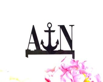 MADE In USA, Anchor Wedding Cake Topper Personalized Monogram YOUR Initials Acrylic Beach Themed Cake Topper Nautical Cake Topper Anchor