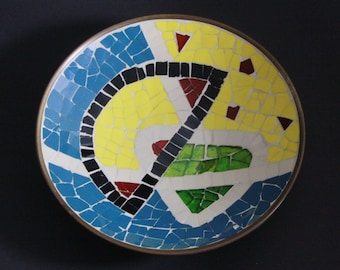 EUROPEAN Mid Century | A gold tone plate with glass mosaic 1960