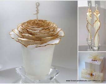 White & Gold Unity Candle, Glitter Wedding Candles, Beauty and the Beast Wedding Decor, Gold Rose Unity Candle, Beeswax Unity Candle Set