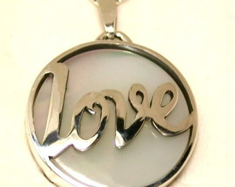 Mother-of-Pearl Sterling Silver Love Pendant