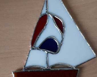 Stained glass sailing boat with spinnaker sun catcher suncatcher Water sports gift Nautical gift Sailing gift