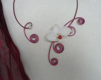 Burgundy and ivory bridal necklace