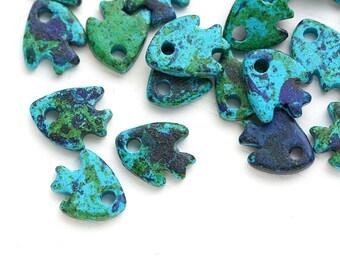 Ceramic Fish charm beads Ocean Blue Green small fish beads Greek ceramic nautical beach beads 10mm - 20pc - 0700