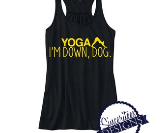 YOGA I'm down dog Workout Tank ladies/womens racerback tanktop