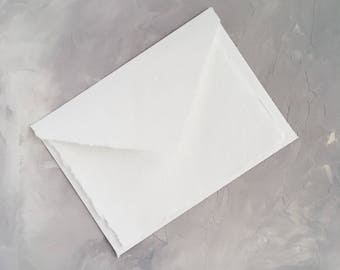 """5.5x7.5 inches  (5.5"""" x 7.5"""") Handmade Cotton Paper Deckle Edge Rag Ungummed Invitation Envelope  150gsm 