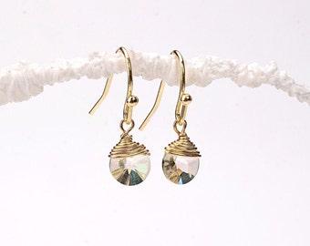 Crystal Pendant Earrings. White Crystal Dangled Gold Earrings. Round Dangled Earrings. Jonquil Swarovski Disc Earrings