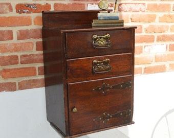 Antique Primitive Hardwood/Walnut Night Stand/Dresser/Cabinet