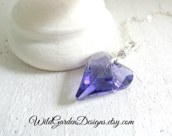 Tanzanite Purple Crystal Heart Necklace Sterling Silver Necklace Swarovski Crystal Heart Pendant French Lavender Valentine Gift for Her