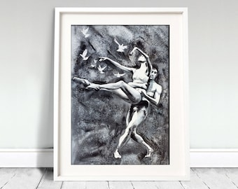 Watercolor Print - Stay. Portrait of  ballet dancers.