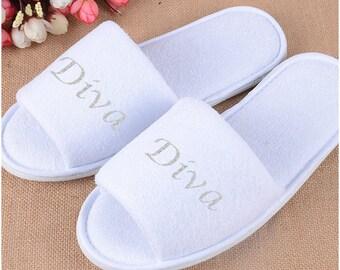 Personalised slippers, Diva, Bridal slippers, Bride, Bride to be, Bridal Shower, Printed Slippers.