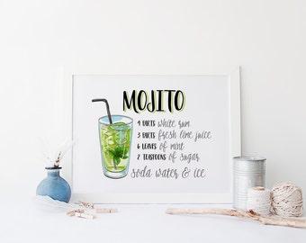 Mojito Print » 4x6 5x7 8x10 11x14 » Cocktail Print » Drink Art » Mojito Recipe » Bar Art Print » Summer Wall Art » Bar Decor » Digital Print
