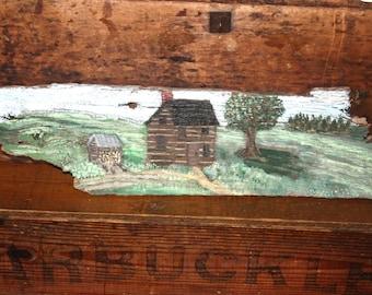Vintage Original Folk Art Painting on Old Barn Wood Titled Serene