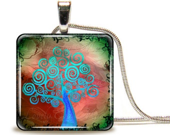 Colorful Blue Curly Tree of Life, Glass Tile Necklace, Glass Tile Pendant, Glass Cabochon, Ready to Ship