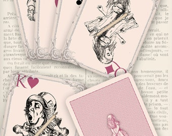 Printable Alice in Wonderland playing cards full deck paper crafting scrapbooking craft instant download digital collage sheet - VDPCAL0108