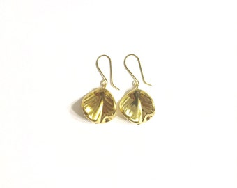 Leaf Earrings, Vintage Earrings, Gold Earrings, Leaf Gold Earrings