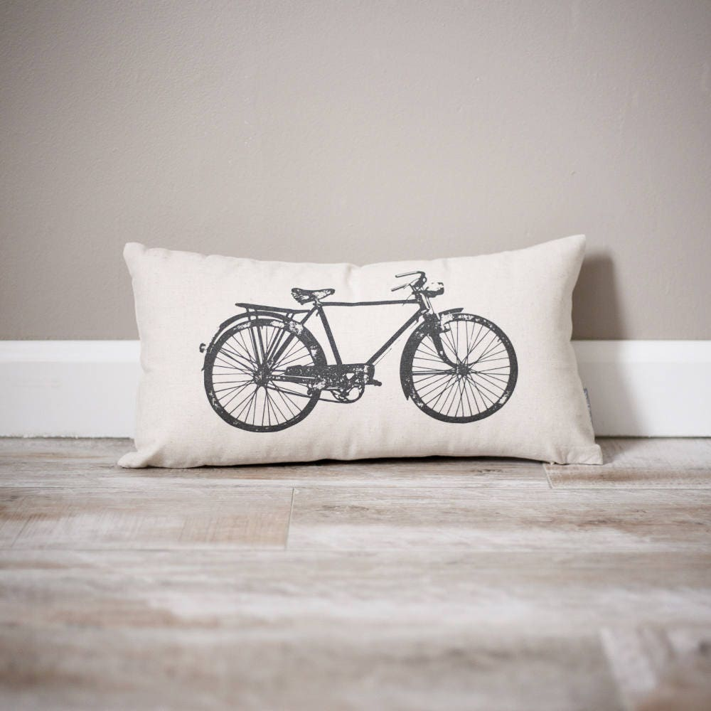 Vintage Bicycle Pillow Personalized Pillow Home Decor