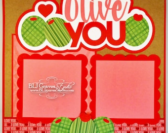 Olive You Valentine Love Wedding Premade Scrapbook Page 12x12 Layout Paper Piece Die Cut Handmade 66