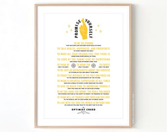 The Optimist Creed PMA Positivite Inspirational // Giclee Archival Matte Art Print