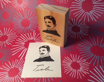 Hand carved rubber stamp - Nikola Tesla