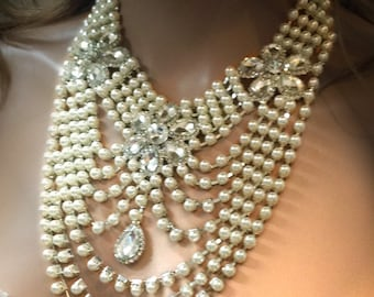Bridal statement , Vintage inspired bridal jewelry, Bridal back drop bib necklace , crystal necklace, pearl necklace, Great Gatsby jewlery