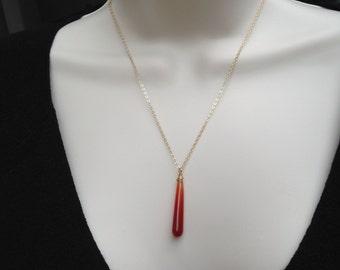 Carnelian Pendant Necklace, orange carnelian, long, gold, chain, teardrop, 14k gold fill, orange gemstone, smooth, briolette, wire wrap,