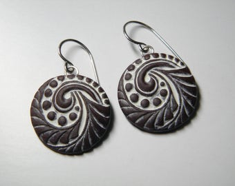 Vintage Button Design Polymer Clay Earrings- dangle disk earrings-eco earrings