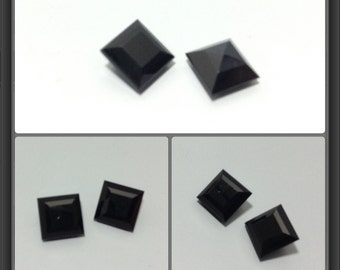 Black Onyx faceted 6x6mm