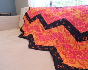 Handmade Zig Zag Quilt, 70's Style Chevron Lapghan, Pink Orange Black Batik, Lounge Room Decor