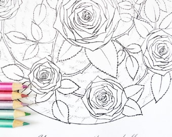 You Are a Rose, Thorn and All - I Love You Anyway - Mandala Coloring Page and Song Lyrics - Instant Digital Download PDF