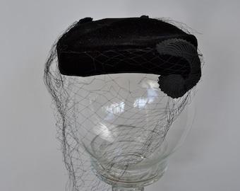 Vintage Black Hat with Veil