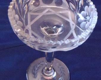 Tall Pedestal Pressed Glass Candy Dish