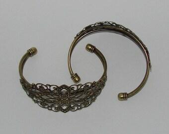 3 open stiff filigree antique bronze flower bracelets